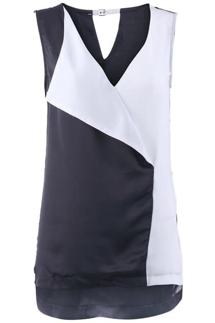 Anomalous Hemline Color Block Vest