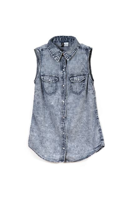 Sleeveless Denim Snowflake Vest