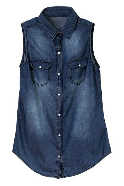 Sleeveless Denim Dark-blue Vest