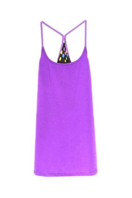 Colorful Dots Printed Purple Vest