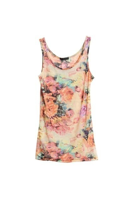 Elasticated Flower Printed Pink Vest