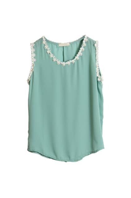 Beaded Hem Light Green Chiffon Vest
