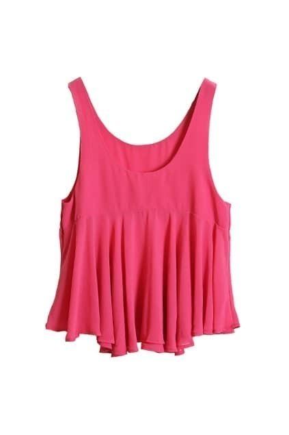 Falbala Lower Hem Rose Chiffon Vest
