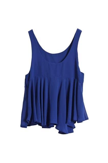 Falbala Lower Hem Blue Chiffon Vest