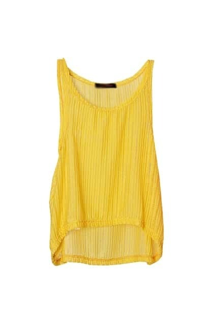Anomalous Hem Yellow Netted Vest