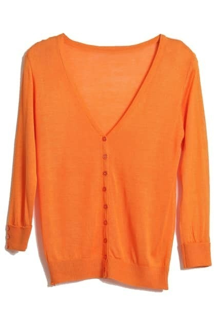 Cropped Sleeves Orange Cardigan