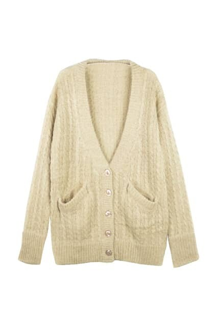 Retro Hollow Nude Cardigan