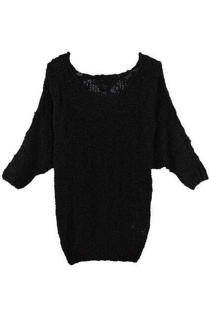 Batwing Sleeve Rhombic Design Black Jumper