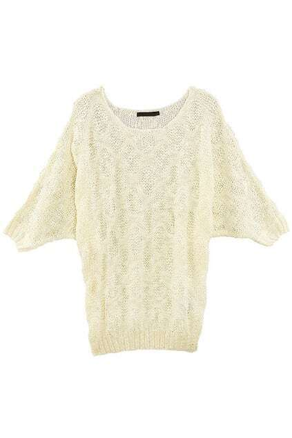 Batwing Sleeve Rhombic Design Cream Jumper