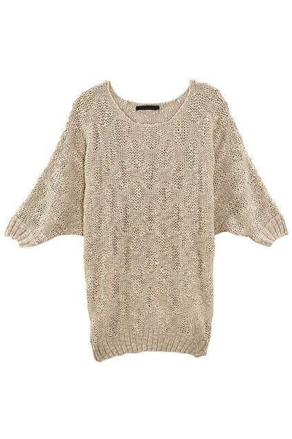 Batwing Sleeve Rhombic Design Champagne Jumper