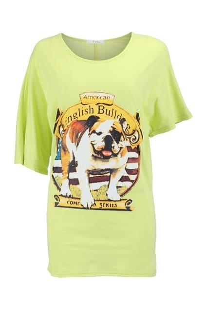 Dog Print Batwing T-shirt