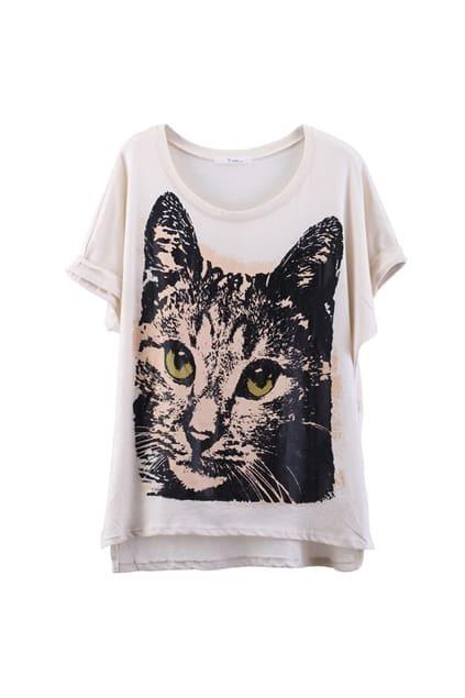 Cat Print Loose Apricot T-shirt