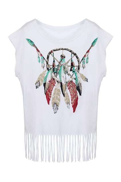 Tassel Detailed Feather Print T-shirt