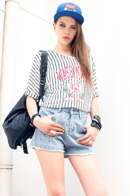 Vertical Stripes Loose T-shirt