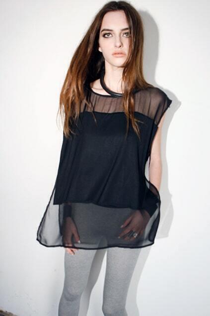 Chiffon Elegent Sheer Black T-shirt
