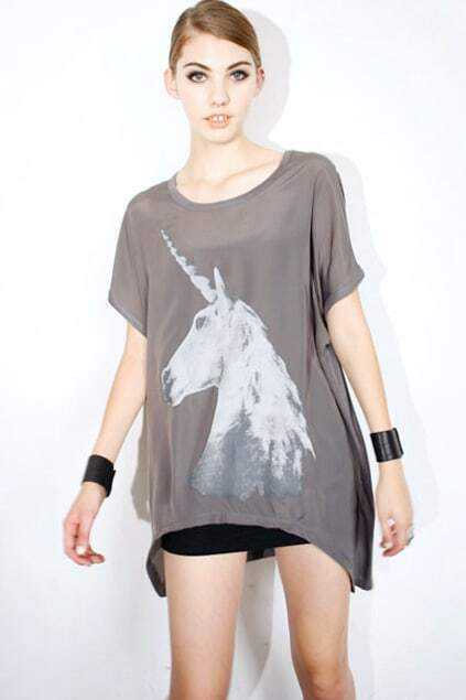 Unicorn Print Grey T-shirt