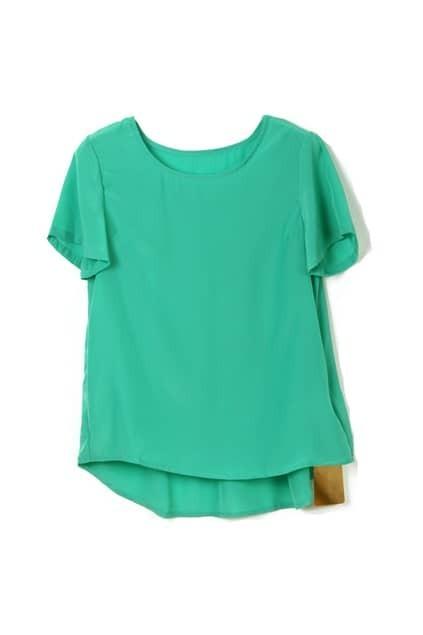Asymmetric Hem Short Sleeve Green T-shirt
