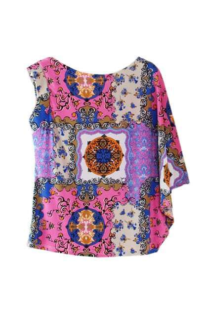 Asymmetric Cut Floral Blue T-shirt
