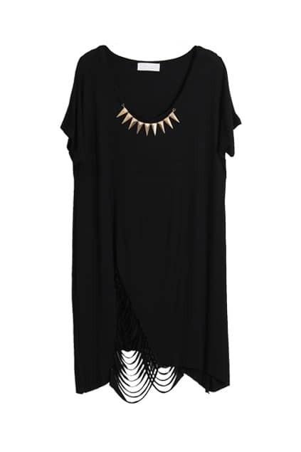 Threadbare Lower Hem Black T-shirt