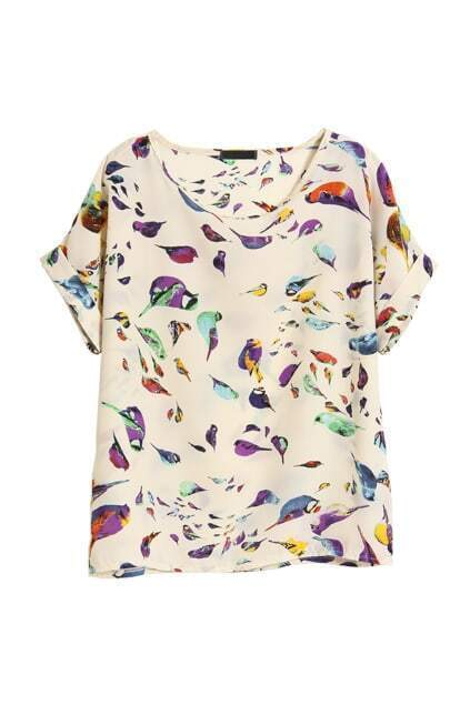 Birds Printed Flod Sleeves Apricot T-shirt