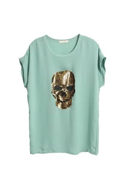 Golden Lace Skull Green T-shirt