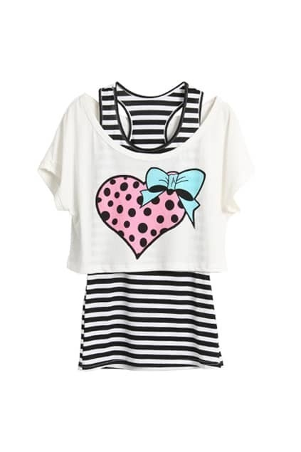 Heart Bowknot Printed Two Pieces T-shirt
