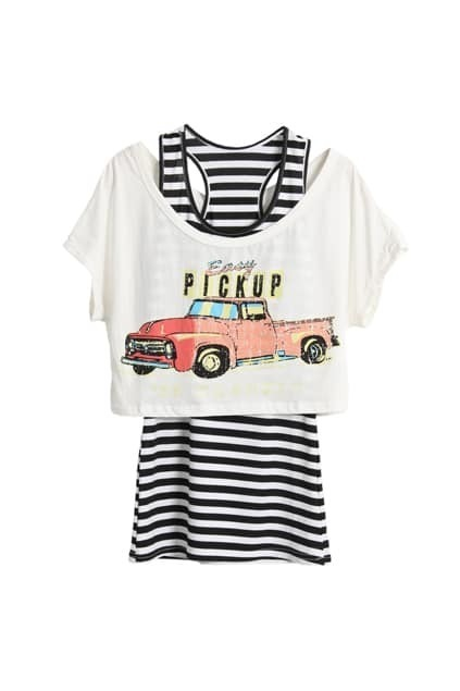 Cartoon Car Printed Two Pieces T-shirt