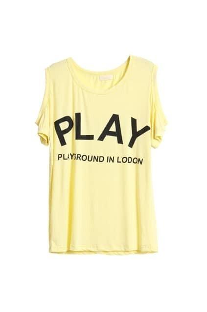 Off Shoulders Yellow T-shirt