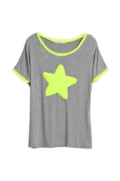 Green Star Front Grey T-shirt