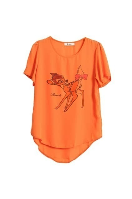 Little Deer Printed Orange T-shirt