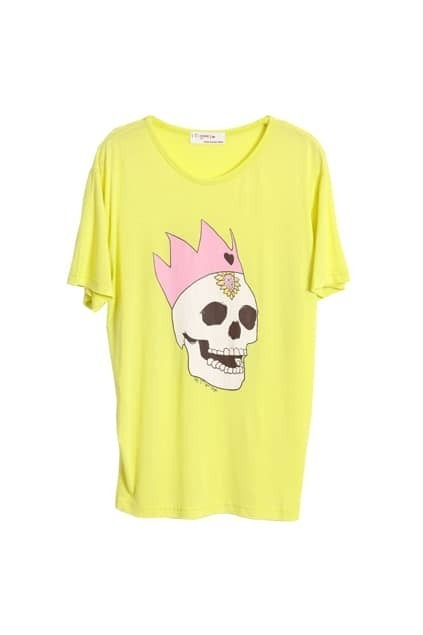 Skull Printed Loose Style Yellow T-shirt