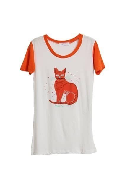 Cat Printed Orange Sleeves T-shirt