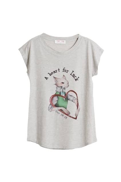 Lucky Heart Printed Grey T-shirt