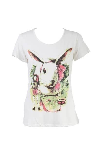 Fresh Rabbit Print White T-shirt
