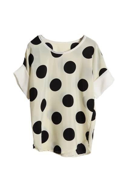 Dots Printed Beige Chiffon T-shirt