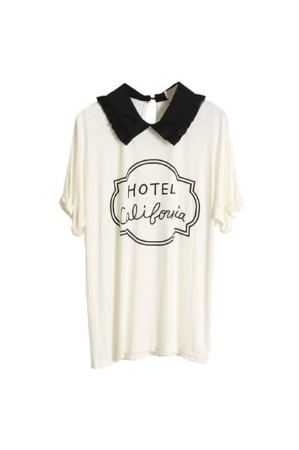 Retro Collar Batwing Sleeves White T-shirt
