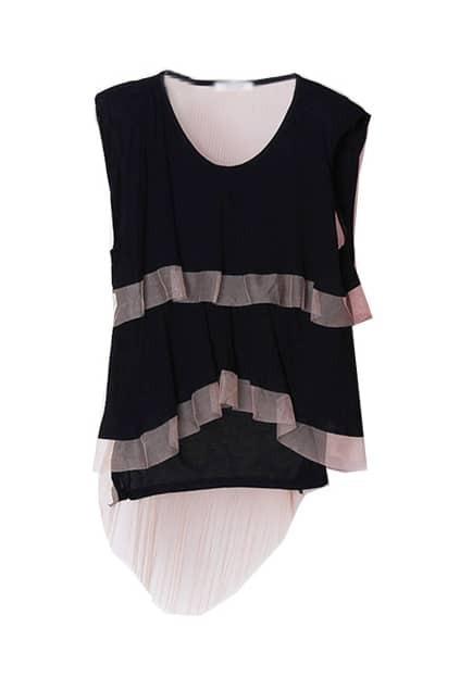 Mesh Ruffle Black T-shirt