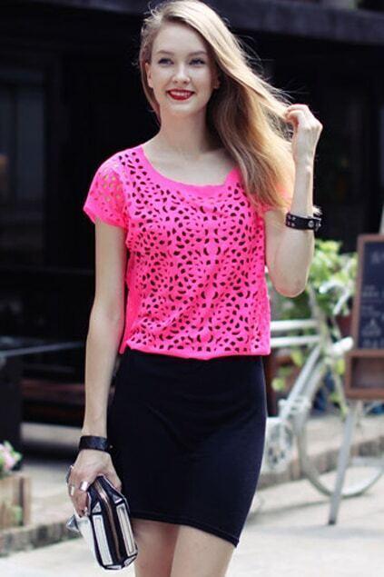 Short Sleeve Hollow Pink T-shirt
