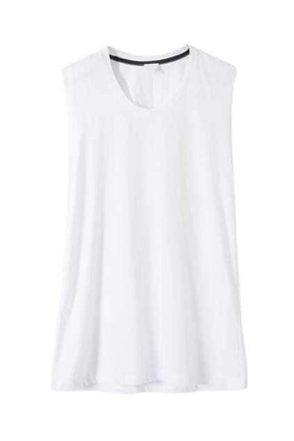 Retro Backless Hollow Pure White T-shirt