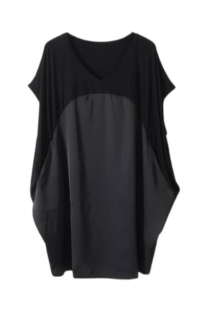 Loose Chiffon Montage V-neck Black T-shirt