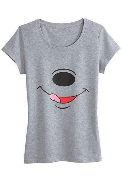 Smile Face Grey T-shirt