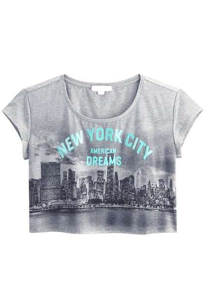 Beads Fitted Letters Printed Grey T-shirt
