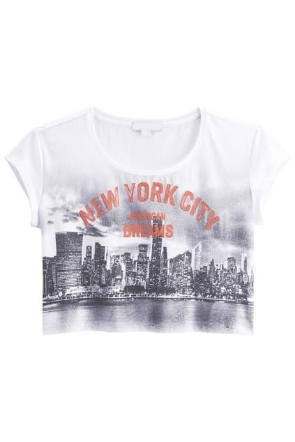 Beads Fitted Letters Printed White T-shirt