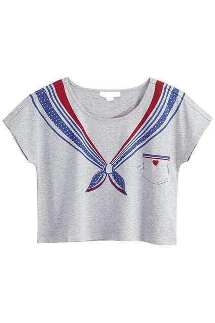 Fake Sailor Collar Printing Grey T-shirt