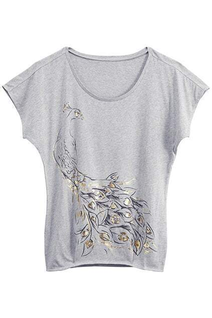 Golden Peacock Printed Grey T-shirt