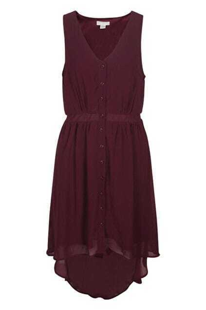 Sleeveless V-neckline Dark-red Dress
