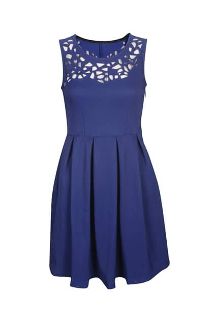 Retro Hollow Royalblue Dress