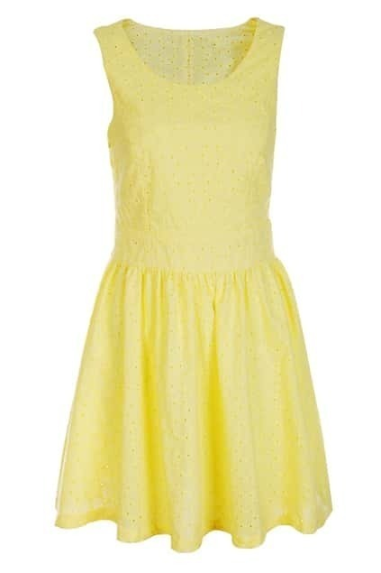 Embroidery Retro Yellow Dress