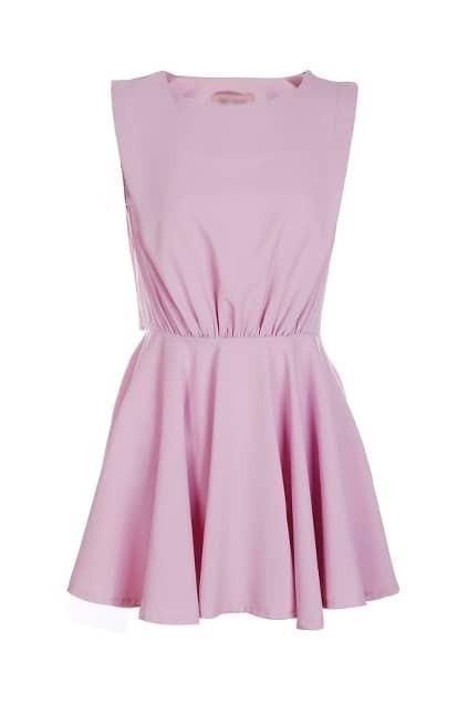 Cut Sleeveless Purple Dress