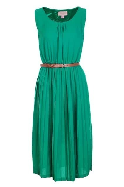 Sleeveless Pleats Green Dress
